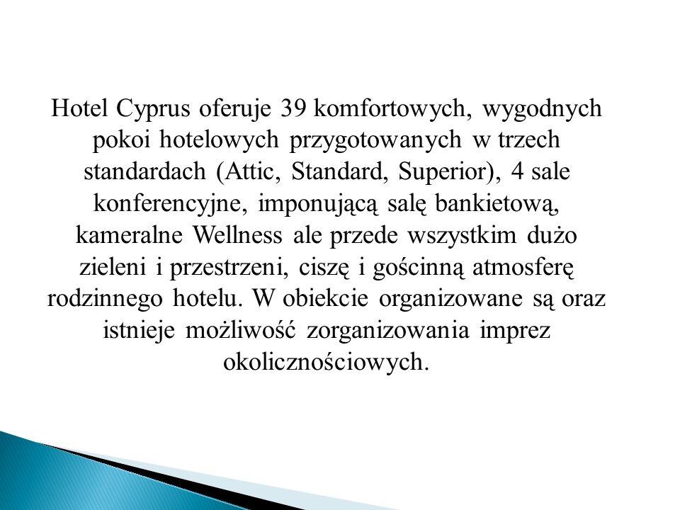 Hotel Cyprus oferuje 39 komfortowych, wygodnych pokoi hotelowych przygotowanych w trzech standardach (Attic, Standard, Superior), 4 sale konferencyjne