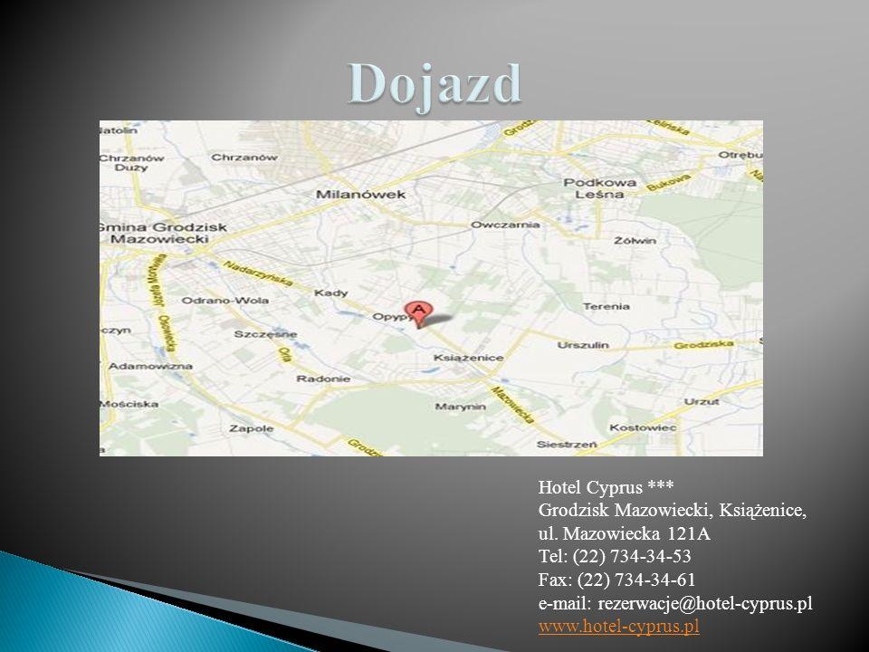 Hotelu Cyprus, dogodnie położony na przedmieściach Warszawy od strony Wrocławia, Katowic i Krakowa.