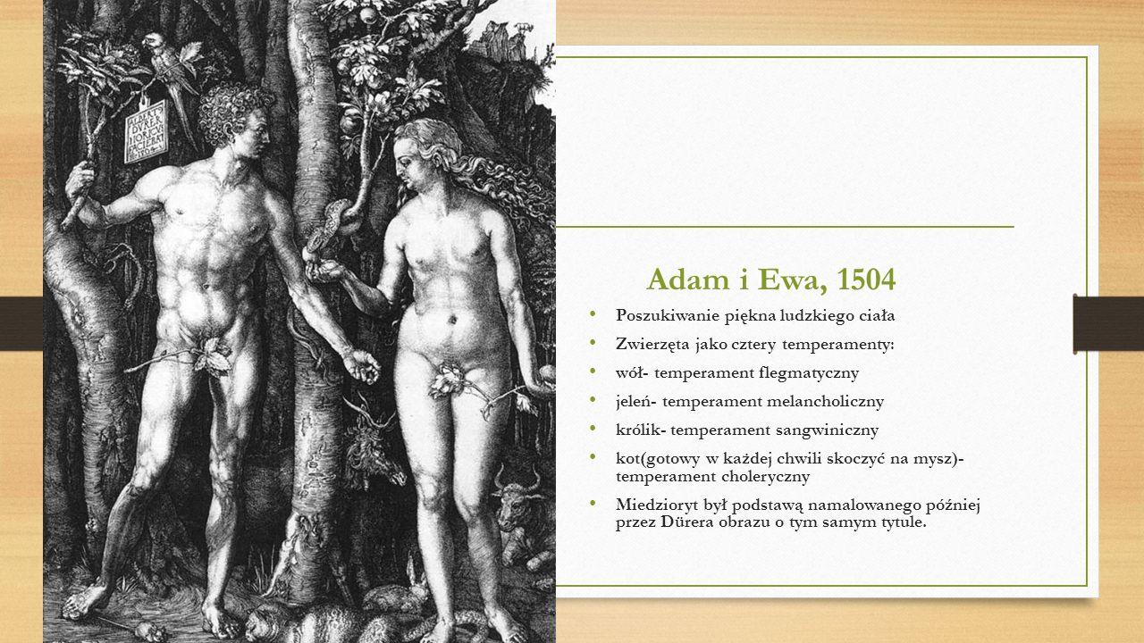 Adam i Ewa, 1504 Poszukiwanie piękna ludzkiego ciała Zwierzęta jako cztery temperamenty: wół- temperament flegmatyczny jeleń- temperament melancholicz