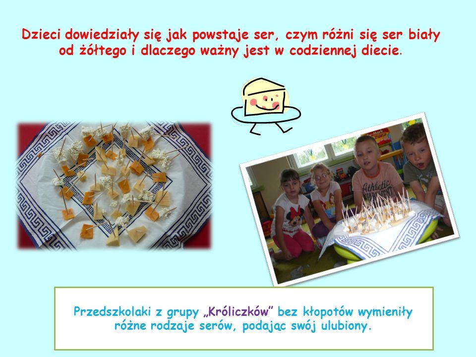 Dzieci dowiedziały się jak powstaje ser, czym różni się ser biały od żółtego i dlaczego ważny jest w codziennej diecie. Przedszkolaki z grupy Króliczk