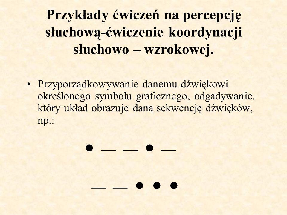 Przykłady ćwiczeń na percepcję słuchową-ćwiczenie koordynacji słuchowo – wzrokowej.