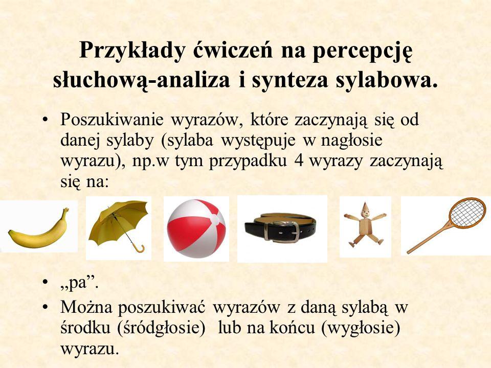 Przykłady ćwiczeń na percepcję słuchową-analiza i synteza sylabowa. Wyodrębnianie sylab w słowach