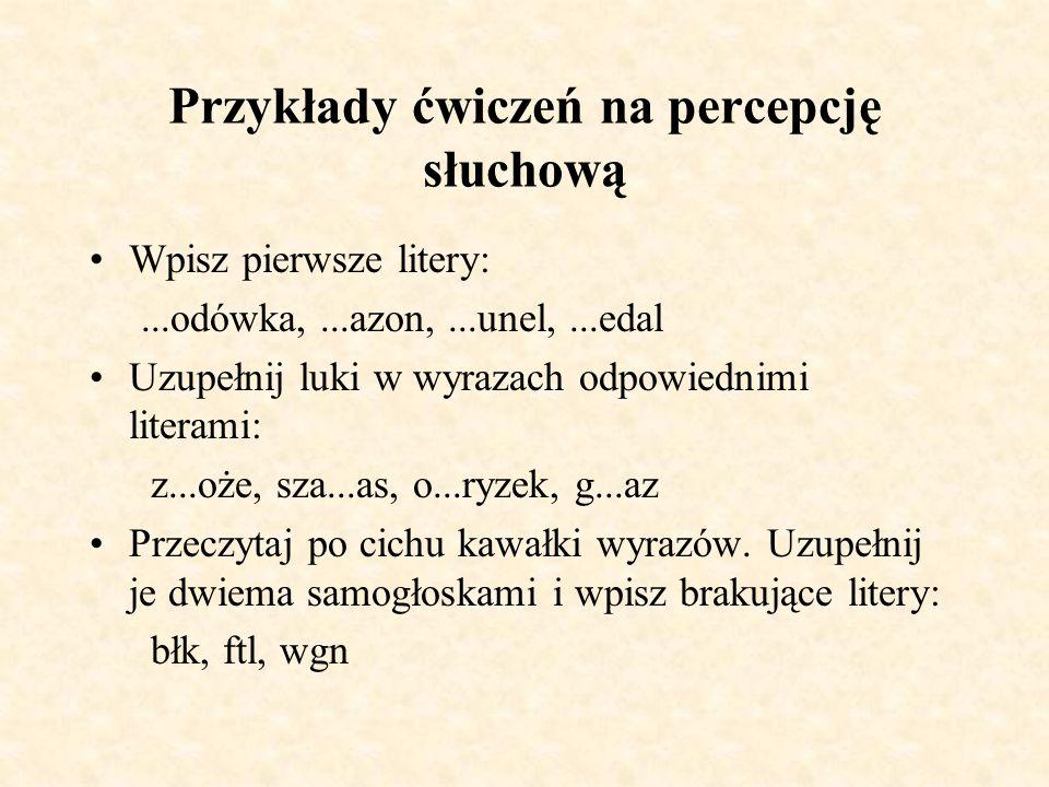 Przykłady ćwiczeń na percepcję słuchową-rozpoznawanie danej głoski i określanie jej miejsca położenia w wyrazie.