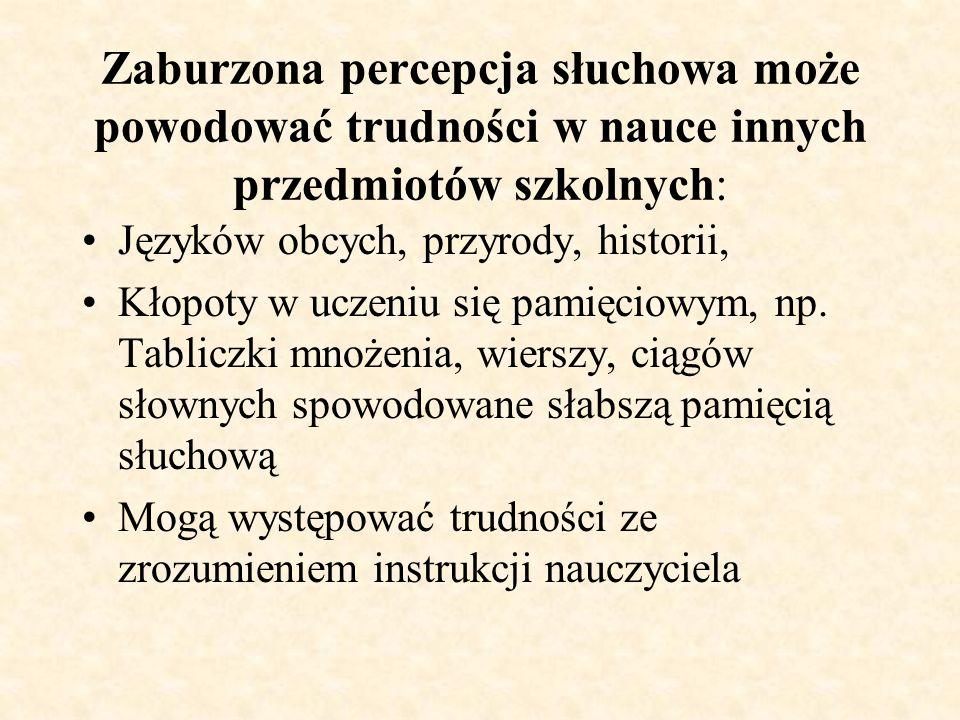 Symptomy zaburzonej percepcji słuchowej występujące w wypowiadaniu się Ubogi zasób słownictwa Budowanie wypowiedzi błędnych pod względem gramatycznym Utrzymujące się wady wymowy Przekręcanie wymowy mało znanych wyrazów
