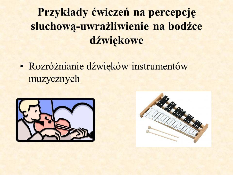 Przykłady ćwiczeń na percepcję słuchową-uwrażliwienie na bodźce dźwiękowe Rozróżnianie i nazywanie dźwięków z najbliższego otoczenia