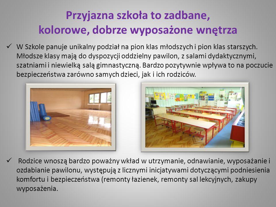 Przyjazna szkoła to zadbane, kolorowe, dobrze wyposażone wnętrza W Szkole panuje unikalny podział na pion klas młodszych i pion klas starszych. Młodsz