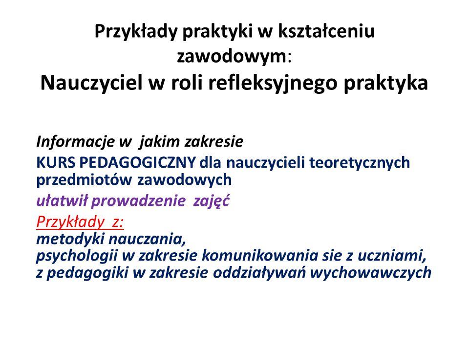 Przykłady praktyki w kształceniu zawodowym: Nauczyciel w roli refleksyjnego praktyka Informacje w jakim zakresie KURS PEDAGOGICZNY dla nauczycieli teo