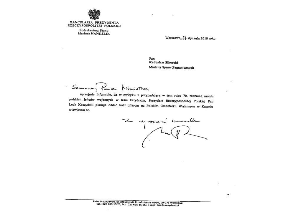 Gra Tuska z Rosją Obniżenie rangi wizyty w Katyniu Prezydenta Lecha Kaczyńskiego MSZ zaakceptowało decyzję rosyjskiego dyplomaty S. Nieczajewa, że pro