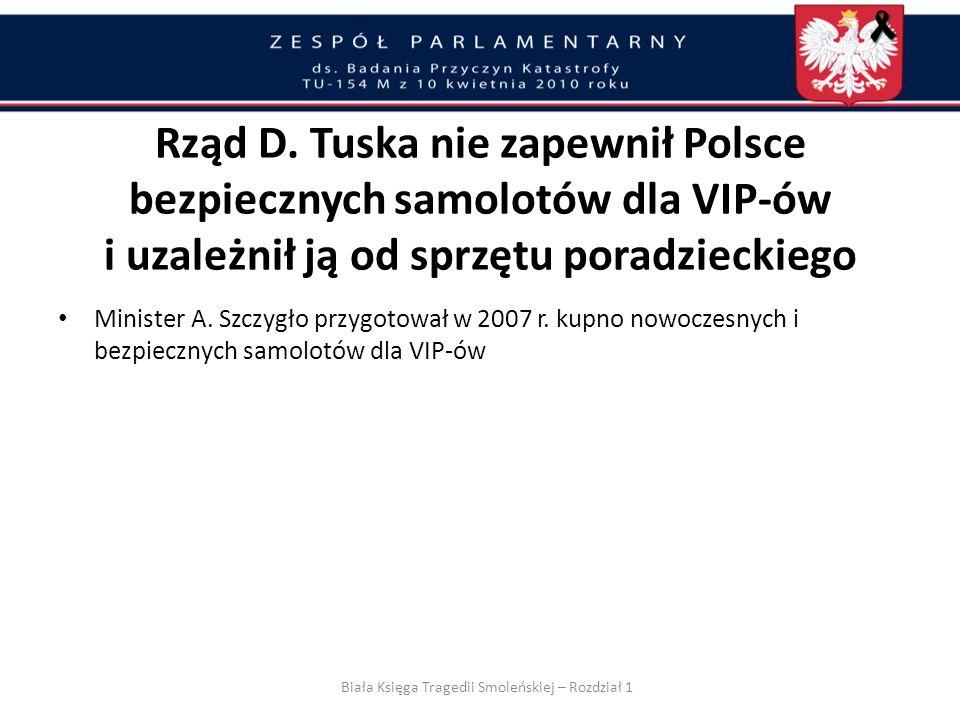 Tuska Rząd Donalda nie zapewnił Polsce bezpiecznych samolotów dla VIP-ów i uzależnił ją od sprzętu poradzieckiego Biała Księga Tragedii Smoleńskiej –