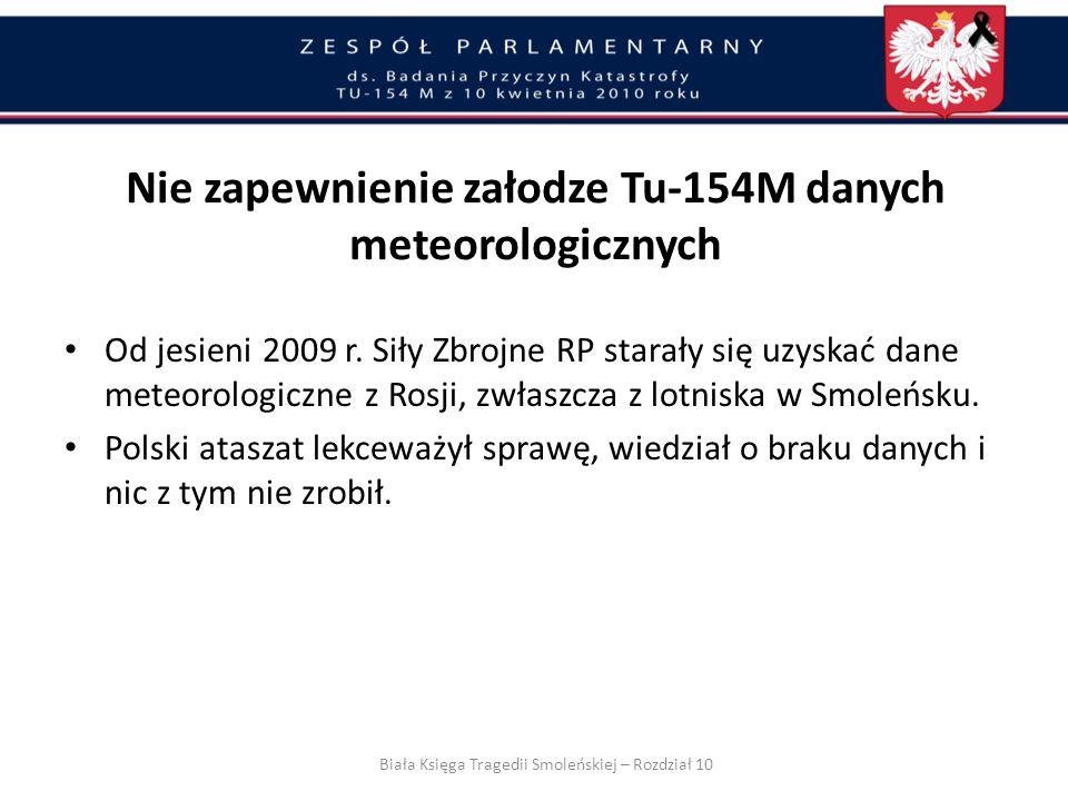 Jesienią 2009 r. pojawił się problem braku danych meteorologicznych z lotnisk wojskowych Federacji Rosyjskiej, głównie chodziło o lotnisko wojskowe w