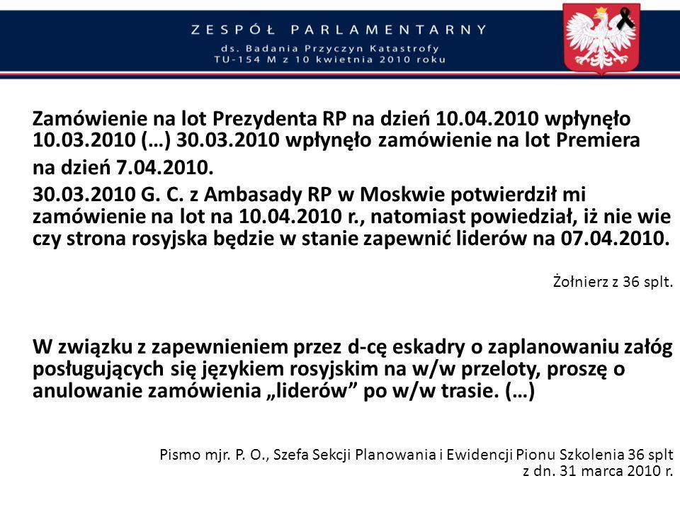 Złamanie zasad ochrony Prezydenta i VIP-ów Rezygnacja z rosyjskiego nawigatora na pokładzie Tu-154M nr 101 Rząd D. Tuska w porozumieniu ze stroną rosy
