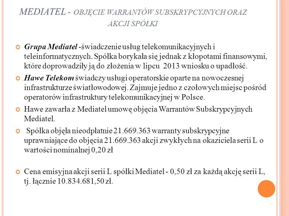 Grupa Mediatel -świadczenie usług telekomunikacyjnych i teleinformatycznych.