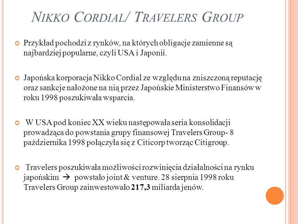 N IKKO C ORDIAL / T RAVELERS G ROUP Przykład pochodzi z rynków, na których obligacje zamienne są najbardziej popularne, czyli USA i Japonii. Japońska