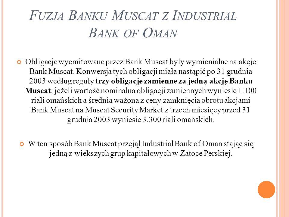F UZJA B ANKU M USCAT Z I NDUSTRIAL B ANK OF O MAN Obligacje wyemitowane przez Bank Muscat były wymienialne na akcje Bank Muscat. Konwersja tych oblig