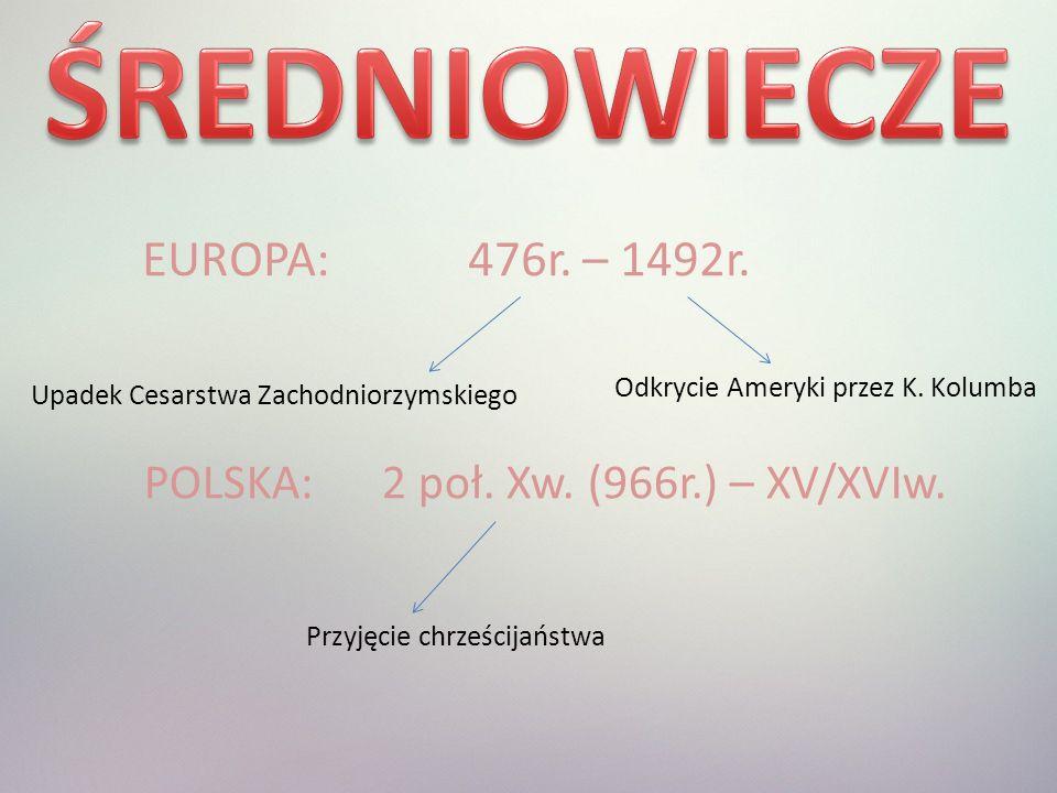 EUROPA: 476r.– 1492r. Upadek Cesarstwa Zachodniorzymskiego Odkrycie Ameryki przez K.