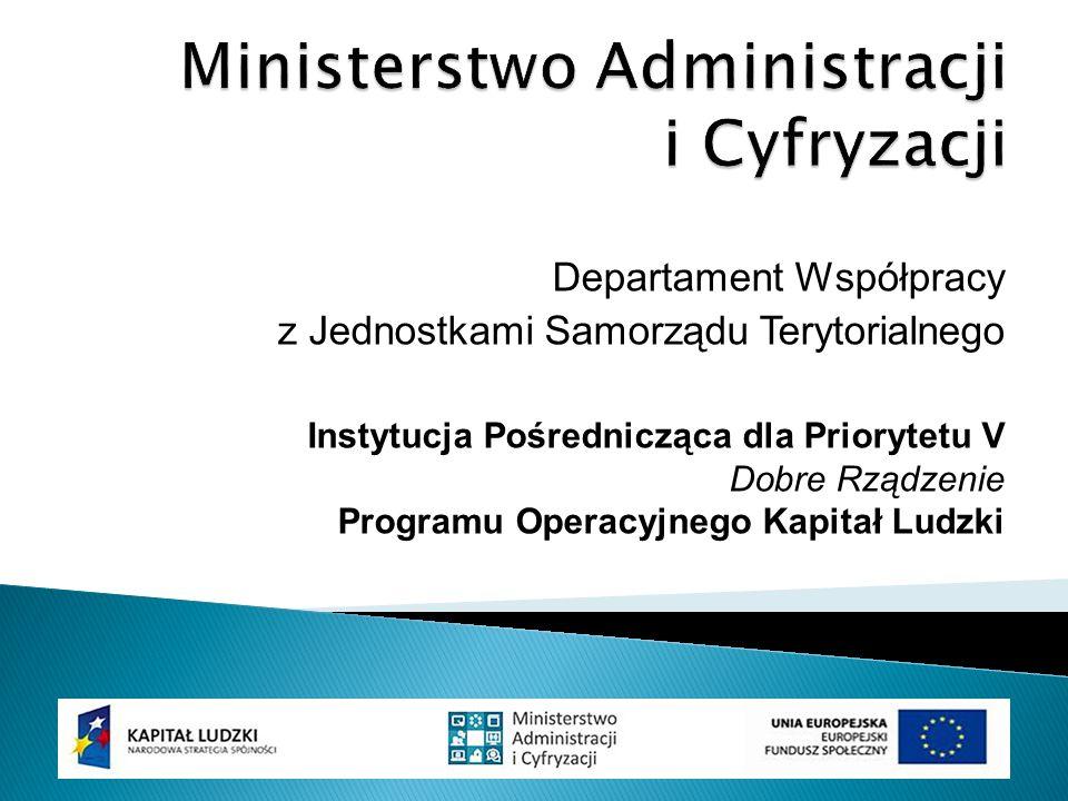Departament Współpracy z Jednostkami Samorządu Terytorialnego Instytucja Pośrednicząca dla Priorytetu V Dobre Rządzenie Programu Operacyjnego Kapitał Ludzki