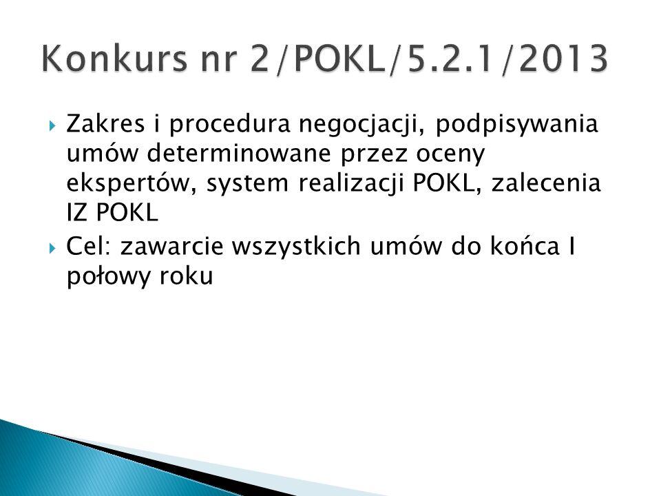 Zakres i procedura negocjacji, podpisywania umów determinowane przez oceny ekspertów, system realizacji POKL, zalecenia IZ POKL Cel: zawarcie wszystkich umów do końca I połowy roku