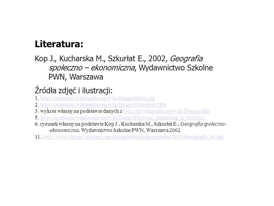 Literatura: Kop J., Kucharska M., Szkurłat E., 2002, Geografia społeczno – ekonomiczna, Wydawnictwo Szkolne PWN, Warszawa Źródła zdjęć i ilustracji: 1.
