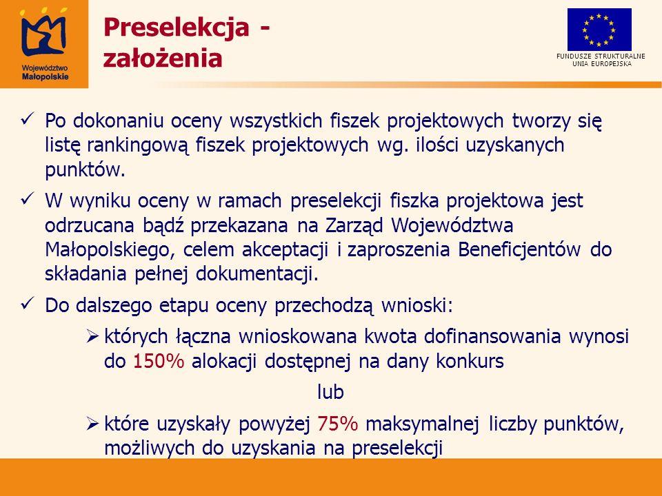 UNIA EUROPEJSKA FUNDUSZE STRUKTURALNE Preselekcja - założenia Po dokonaniu oceny wszystkich fiszek projektowych tworzy się listę rankingową fiszek projektowych wg.
