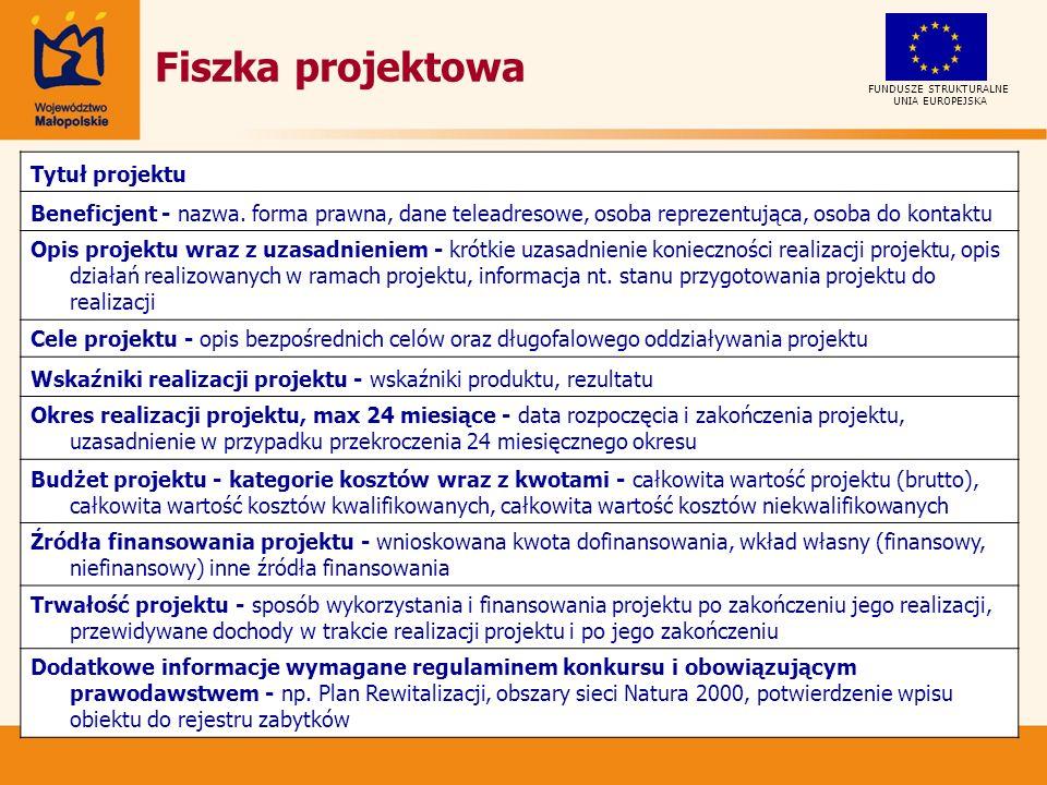 Fiszka projektowa UNIA EUROPEJSKA FUNDUSZE STRUKTURALNE Tytuł projektu Beneficjent - nazwa.