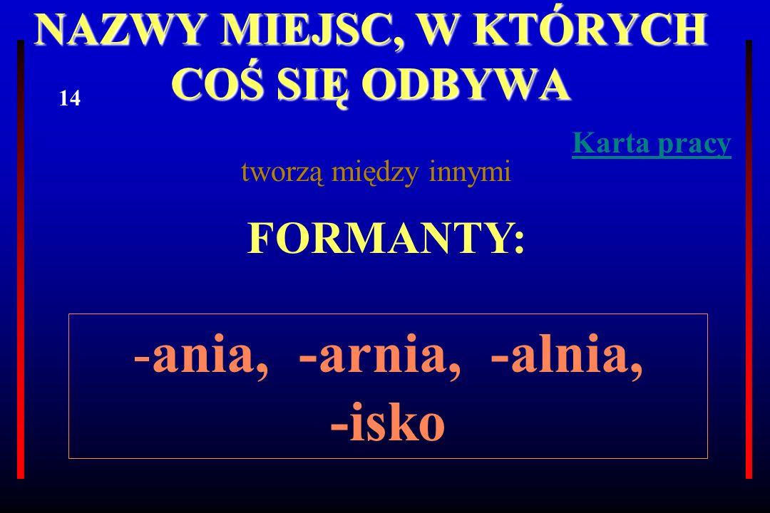 NAZWY MIEJSC, W KTÓRYCH COŚ SIĘ ODBYWA tworzą między innymi FORMANTY: -ania, -arnia, -alnia, -isko 14 Karta pracy