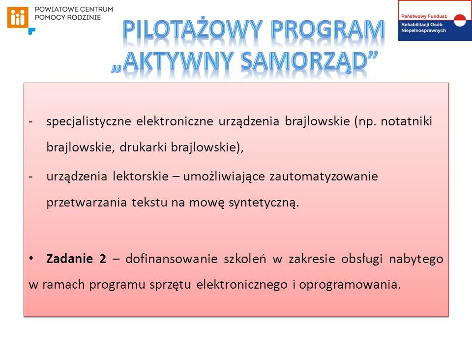 -specjalistyczne elektroniczne urządzenia brajlowskie (np.