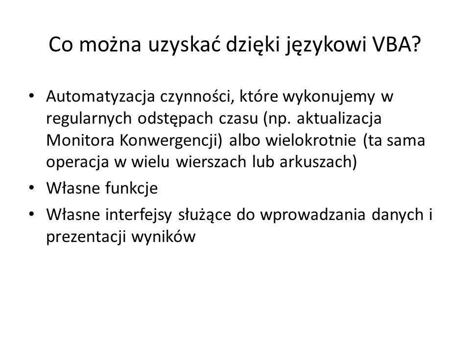 Co można uzyskać dzięki językowi VBA? Automatyzacja czynności, które wykonujemy w regularnych odstępach czasu (np. aktualizacja Monitora Konwergencji)