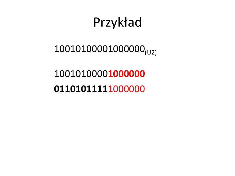 Przykład 10010100001000000 (U2) 10010100001000000 01101011111000000