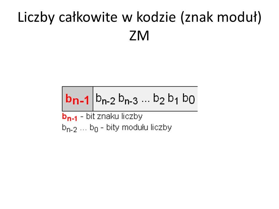 Liczby całkowite w kodzie (znak moduł) ZM
