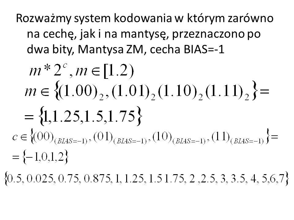 Rozważmy system kodowania w którym zarówno na cechę, jak i na mantysę, przeznaczono po dwa bity, Mantysa ZM, cecha BIAS=-1