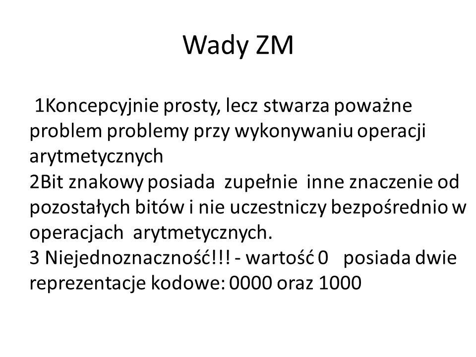Wady ZM 1Koncepcyjnie prosty, lecz stwarza poważne problem problemy przy wykonywaniu operacji arytmetycznych 2Bit znakowy posiada zupełnie inne znaczenie od pozostałych bitów i nie uczestniczy bezpośrednio w operacjach arytmetycznych.
