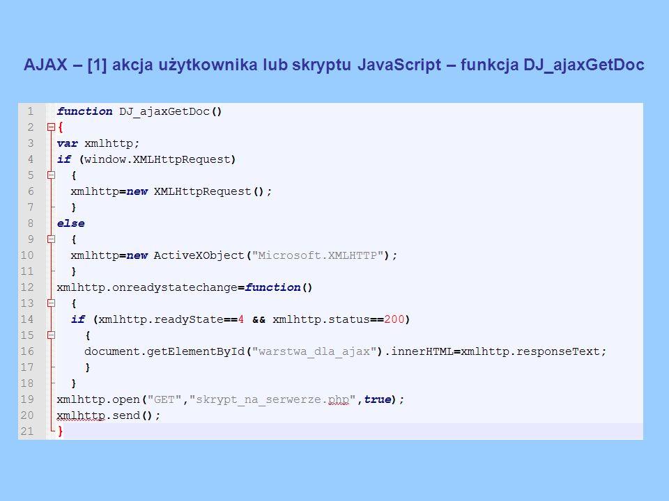 AJAX – [2,3] wysłanie żądania z przeglądarki i odbiór przez serwer […] xmlhttp.open( GET , skrypt_na_serwerze.php ,true); xmlhttp.send(); […] Realizacja skryptu - żądanie Wysłanie żądania na serwer