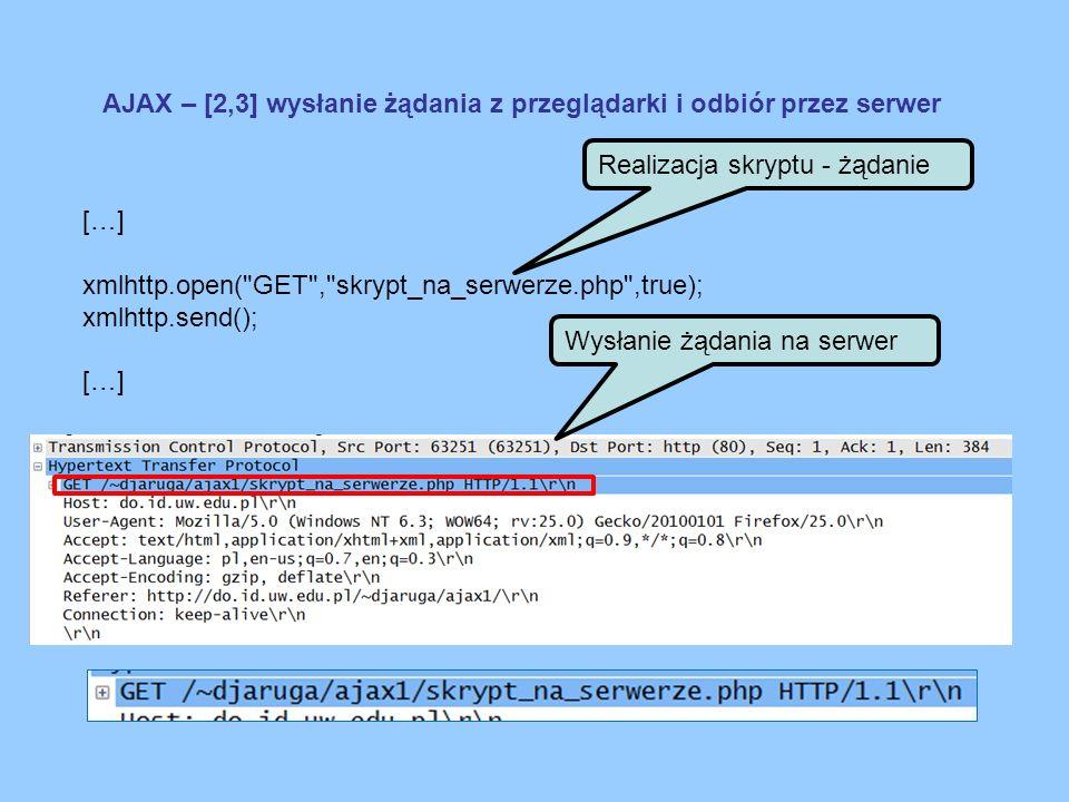 AJAX – [4] Przetwarzanie żądania <?php […] echo AJAX is the best ! ; […] ?> Realizacja skryptu CGI po stronie serwera header( Content-type: text/plain ); header( Last-Modified: .