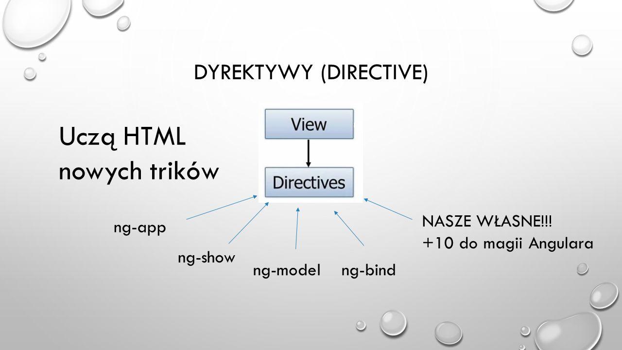 DYREKTYWY (DIRECTIVE) Uczą HTML nowych trików ng-app ng-show ng-modelng-bind NASZE WŁASNE!!! +10 do magii Angulara