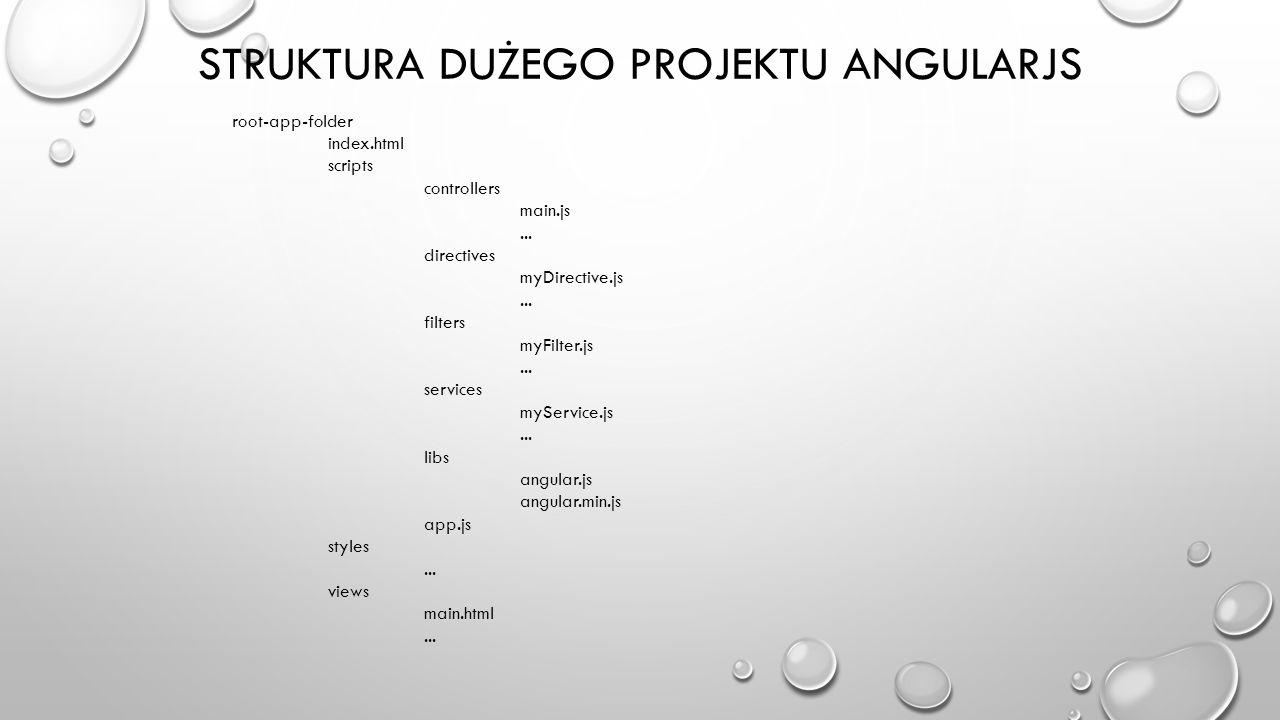 STRUKTURA DUŻEGO PROJEKTU ANGULARJS root-app-folder index.html scripts controllers main.js... directives myDirective.js... filters myFilter.js... serv