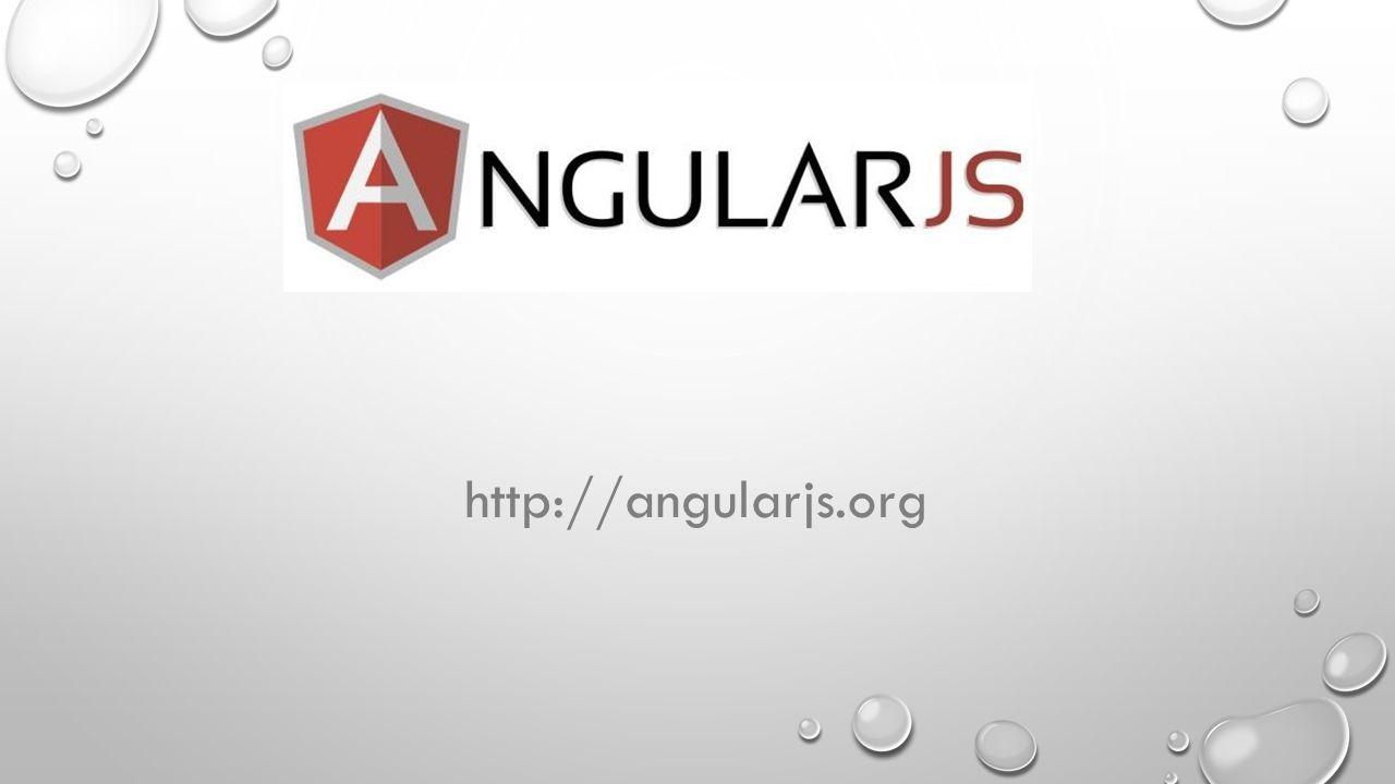 PRZYDATNE LINKI, KSIĄŻKI I NARZĘDZIA Strona domowa: http://angularjs.orghttp://angularjs.org Przydatne linki: https://egghead.io/lessons - zbiór video tutorialihttps://egghead.io/lessons https://leanpub.com/recipes-with-angular-js/read#leanpub-auto-introduction – zbiór przykładów zastosować AngularJS https://leanpub.com/recipes-with-angular-js/read#leanpub-auto-introduction Książki – AngularJS (OREILLY) i pdf AngularJS In 60 Minutes dodane do źródeł Narzędzia: AngularJS Baratang – do debugowania aplikacji Narzędzia do testowania - Jasmine