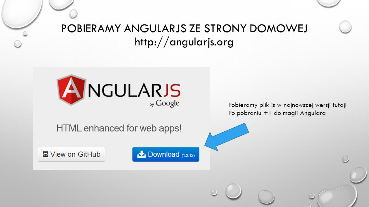 POBIERAMY ANGULARJS ZE STRONY DOMOWEJ http://angularjs.org Pobieramy plik js w najnowszej wersji tutaj! Po pobraniu +1 do magii Angulara