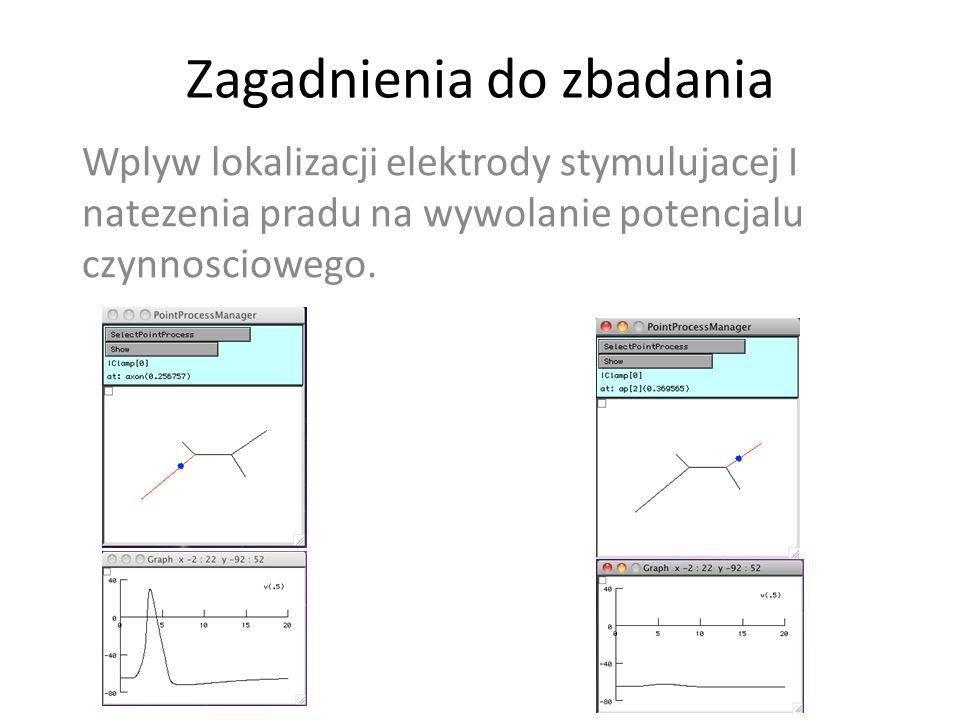 Zagadnienia do zbadania Wplyw lokalizacji elektrody stymulujacej I natezenia pradu na wywolanie potencjalu czynnosciowego.