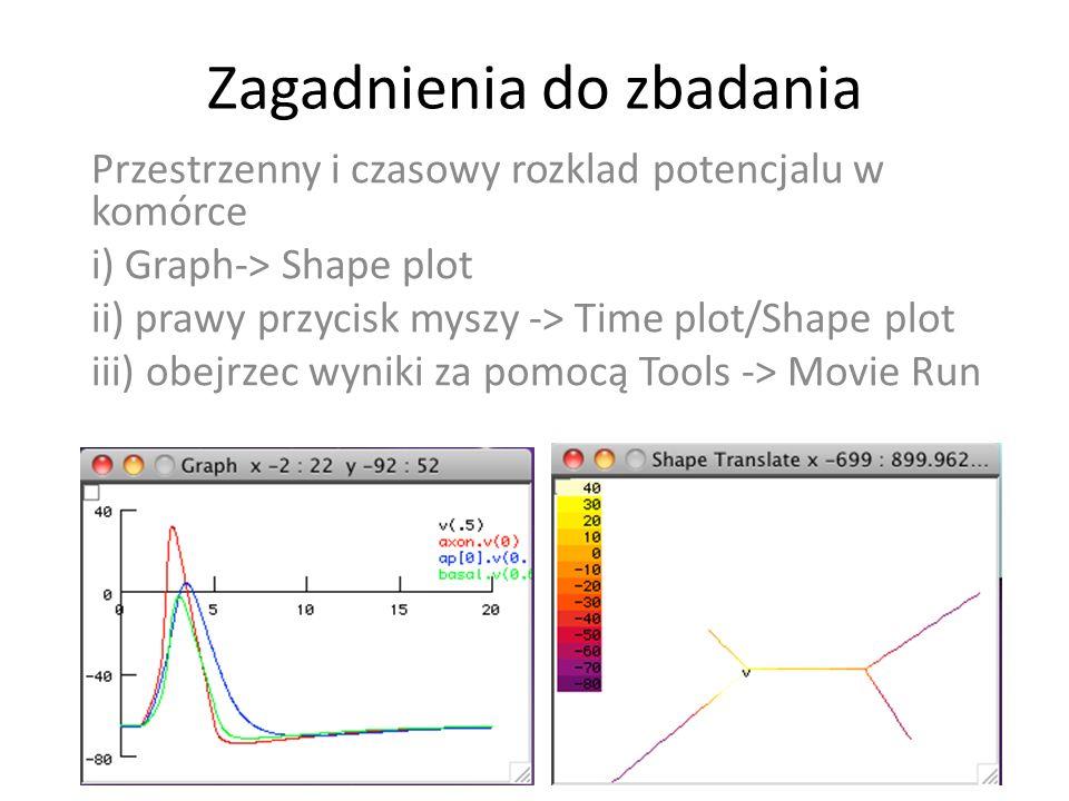 Zagadnienia do zbadania Przestrzenny i czasowy rozklad potencjalu w komórce i) Graph-> Shape plot ii) prawy przycisk myszy -> Time plot/Shape plot iii) obejrzec wyniki za pomocą Tools -> Movie Run