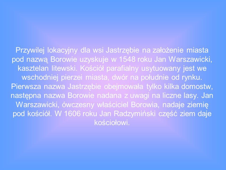 Przywilej lokacyjny dla wsi Jastrzębie na założenie miasta pod nazwą Borowie uzyskuje w 1548 roku Jan Warszawicki, kasztelan litewski. Kościół parafia