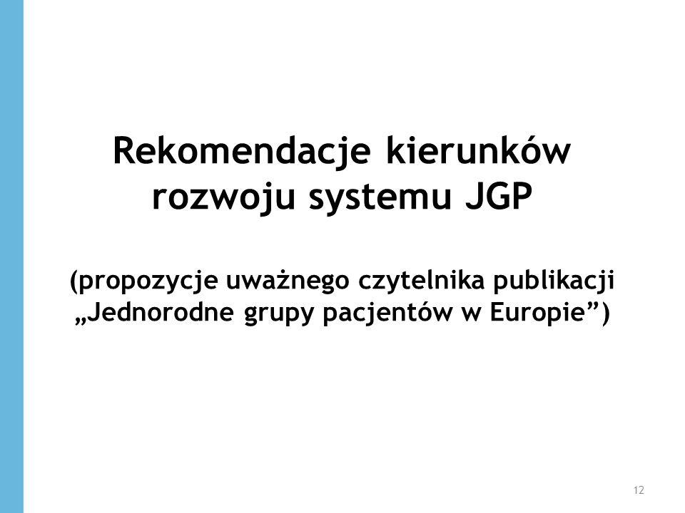 Rekomendacje kierunków rozwoju systemu JGP (propozycje uważnego czytelnika publikacji Jednorodne grupy pacjentów w Europie) 12