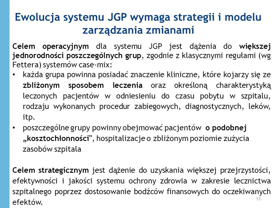 Celem operacyjnym dla systemu JGP jest dążenia do większej jednorodności poszczególnych grup, zgodnie z klasycznymi regułami (wg Fettera) systemów cas