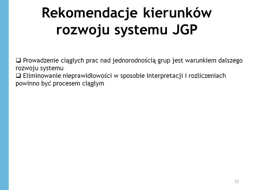 Rekomendacje kierunków rozwoju systemu JGP 22 Prowadzenie ciągłych prac nad jednorodnością grup jest warunkiem dalszego rozwoju systemu Eliminowanie n
