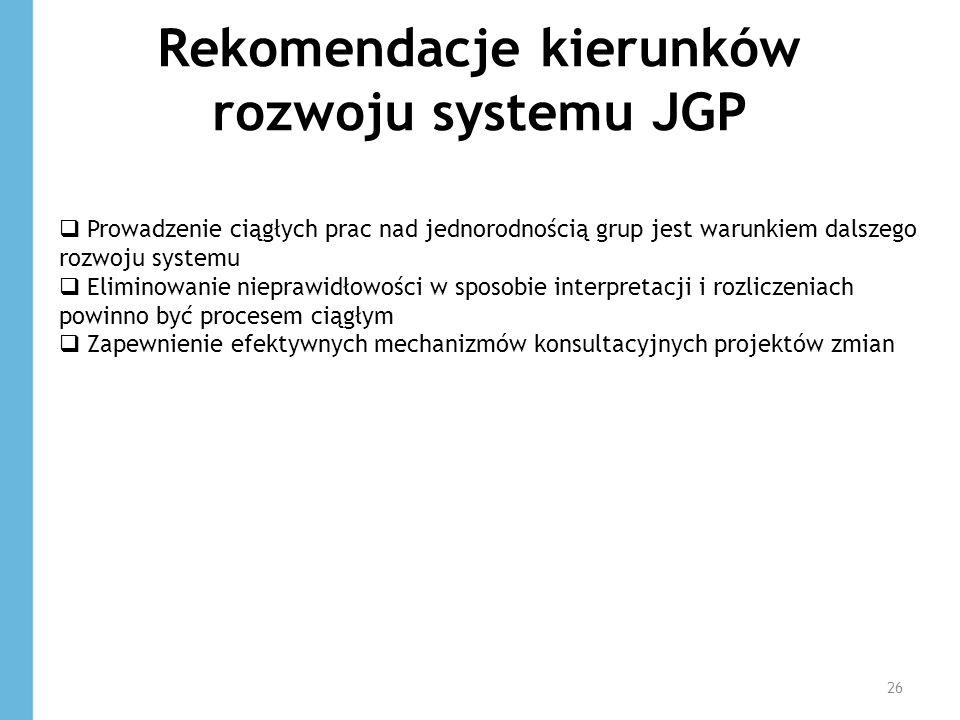 Rekomendacje kierunków rozwoju systemu JGP 26 Prowadzenie ciągłych prac nad jednorodnością grup jest warunkiem dalszego rozwoju systemu Eliminowanie n