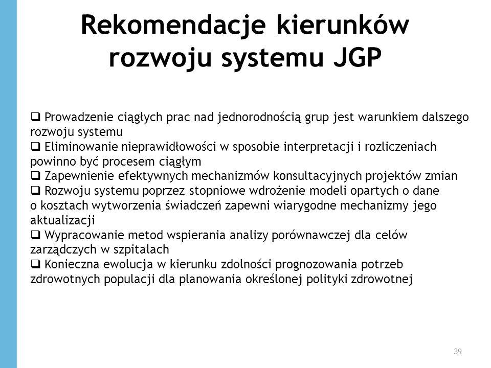 Rekomendacje kierunków rozwoju systemu JGP 39 Prowadzenie ciągłych prac nad jednorodnością grup jest warunkiem dalszego rozwoju systemu Eliminowanie n