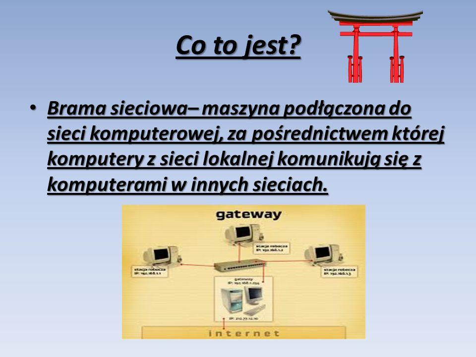 W sieci TCP/IP domyślna brama (sieciowa) oznacza router do którego komputery sieci lokalnej mają wysyłać pakiety o ile nie powinny być one kierowane w sieć lokalną lub do innych, znanych im routerów.