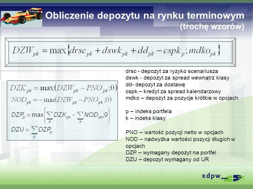 Obliczenie depozytu na rynku terminowym (trochę wzorów) drsc - depozyt za ryzyko scenariusza dswk - depozyt za spread wewnątrz klasy dd- depozyt za do