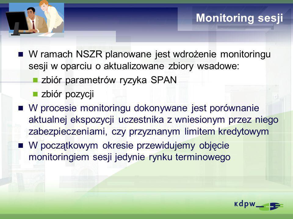 Monitoring sesji W ramach NSZR planowane jest wdrożenie monitoringu sesji w oparciu o aktualizowane zbiory wsadowe: zbiór parametrów ryzyka SPAN zbiór