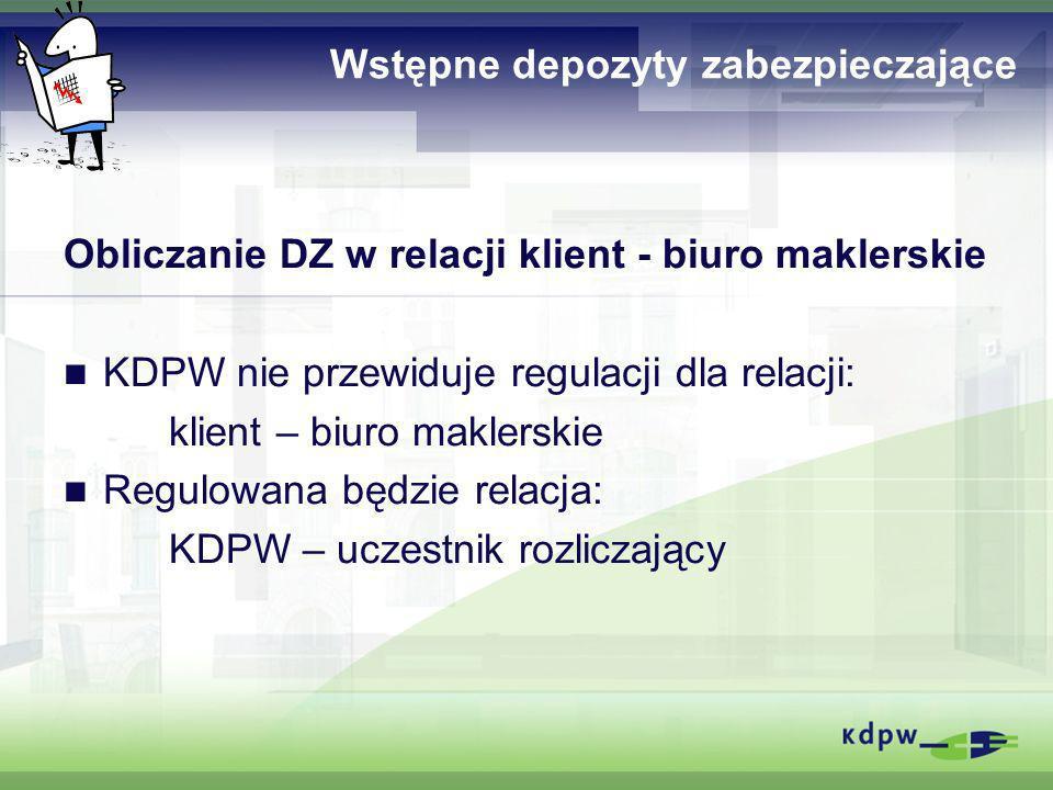 Wstępne depozyty zabezpieczające Obliczanie DZ w relacji klient - biuro maklerskie KDPW nie przewiduje regulacji dla relacji: klient – biuro maklerski
