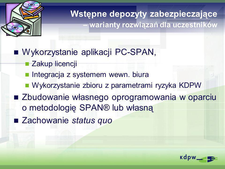 Wstępne depozyty zabezpieczające – warianty rozwiązań dla uczestników Wykorzystanie aplikacji PC-SPAN, Zakup licencji Integracja z systemem wewn. biur